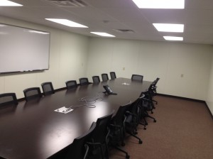 Finished and furnished 30'x18' conference room.