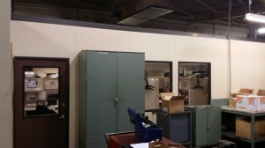 6+ year old A-Wall 200 modular office.  Here, the first reconfiguration moved the door from the other side of the building.