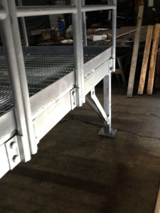 removable handrail on metal stairs
