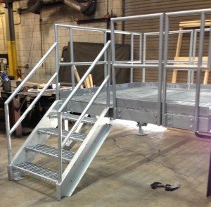 fully assembled construction trailer stair with galvanized finish for corrosion  protection