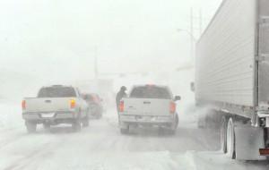 Snow storm traffic jam