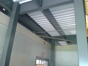 Underside of corrugated roof deck