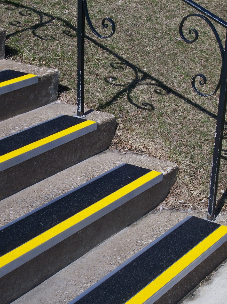 Stairway Visibility Through Contrasting Colored Step Nosing