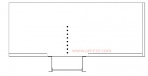 Top view sketch of catwalk side mounted fixed ladderway opening