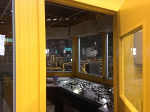 Looking inside the odd shaped modular building control booth