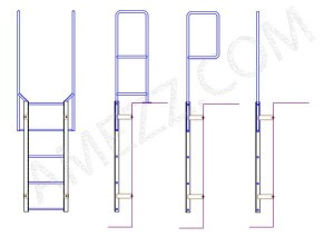Steel ladder handrail options