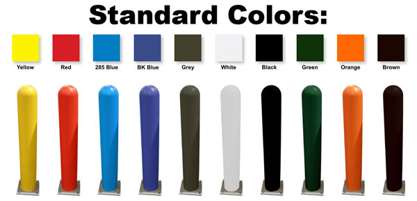 color chart for vinyl bollard covers and sleeves