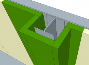 conceptual model of using modular wall panels to box around an obstruction