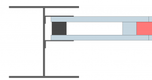 Using angle and an internal steel stud to tie a modular wall panel to  an I-beam