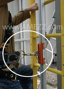 Close up view of A-Mezz personal fall arrest systems utilizing rigid track.