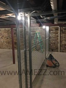 A-Mezz welded wire partition allows for cut-outs where necessary to work tight around existing obstructions.