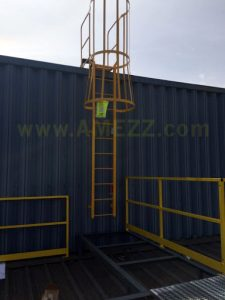Fixed ladder from upper roof to middle roof for roof stack access