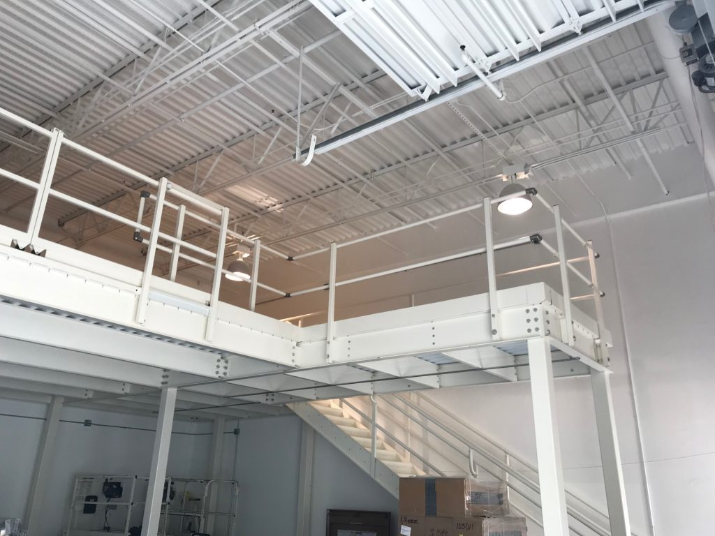 irregular shaped storage platform with internal stair