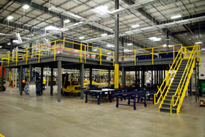 photo of warehouse distribution mezzanine floor systems