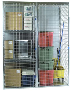 photo of galvanized steel door storage locker