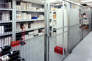photo of wire partition protecting storage shelving