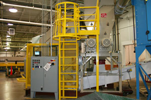 photo of fixed ladder with cage
