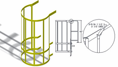 Drawing of a modular bolt on ladder cage section