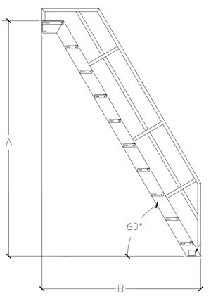 technical drawing of a ship ladder