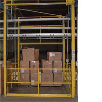 photo of dual interlocking vertical mezzanine safety gate