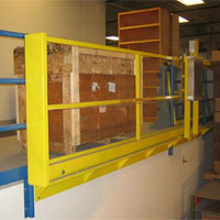 photo of horizontal sliding mezzanine pallet gate