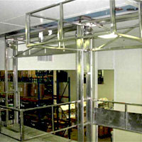 photo of three-sided vertical lifting mezzanine safety gate