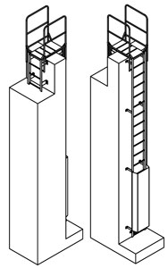 drawing of a permanent access ladder with crossover and security ladder guard door